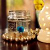 Gel Candle With Shell & Blue Flower In A Jar