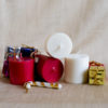 Red And White Small Pillar Candles In Soy Wax (Set Of 4)